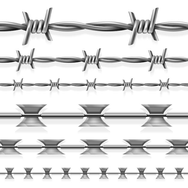 Безопасная стальная колючая и бритвенная проволока Premium векторы