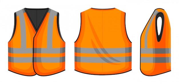 Safety vest  illustration on white background . jacket of worker  cartoon set icon. isolated cartoon set icon safety vest. Premium Vector