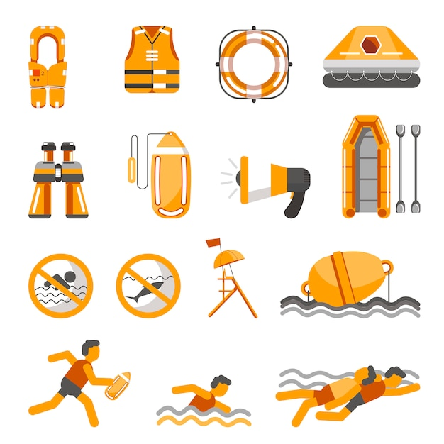 Safety on water vector flat icons set for infographics Premium Vector