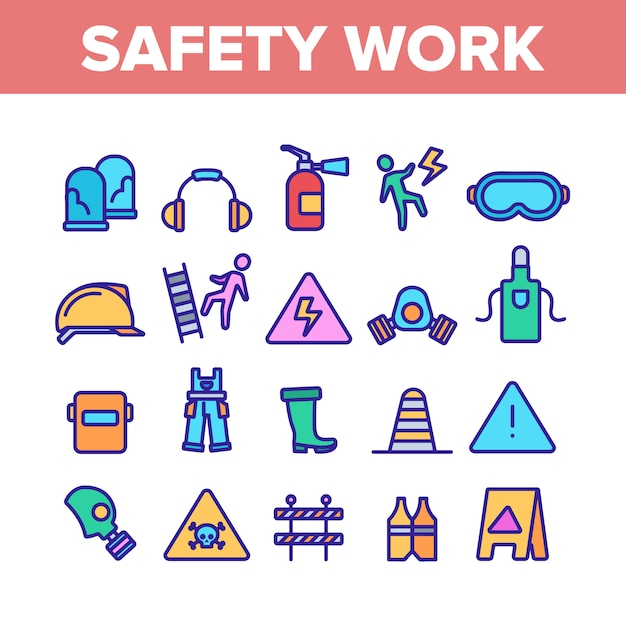Safety work elements icons set Premium Vector