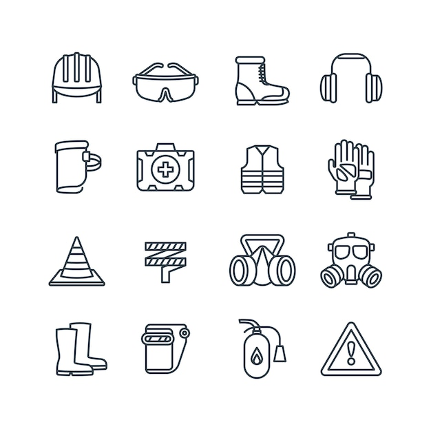 Safety work equipment and protective clothing line vector icons Premium Vector