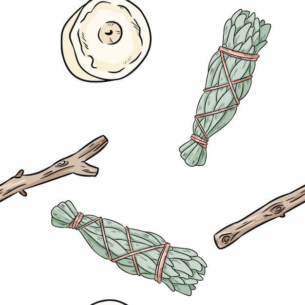Sage smudge sticks and candles hand-drawn boho seamless pattern Premium Vector