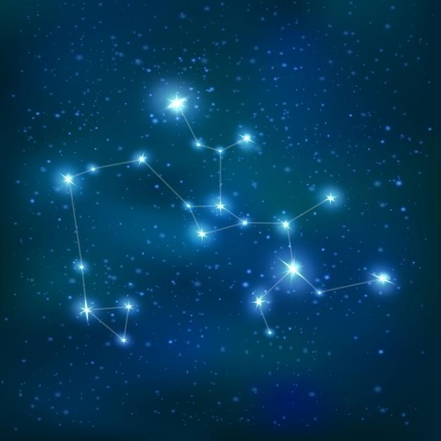 Стрелец реалистичный знак зодиака созвездие с большими и маленькими звездами на ночном небе Бесплатные векторы