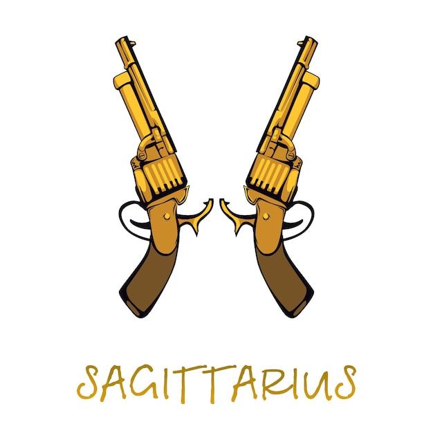 射手座星座アクセサリーフラット漫画。ゴールデンリボルバーオブジェクト。占星術の星占いの天体のシンボル。アンティーク銃の要素。孤立した手描きアイテム Premiumベクター
