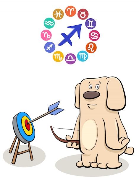 Sagittarius zodiac sign with cartoon dog Premium Vector