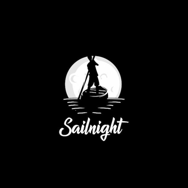 Sail boat night logo Premium Vector