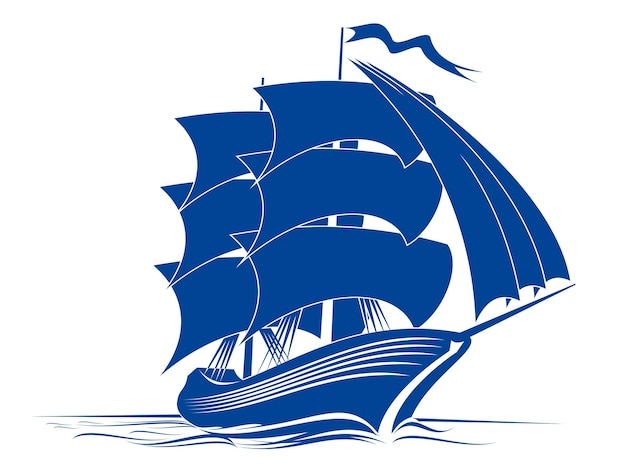 Sail ship in ocean water for travel or another design Premium Vector