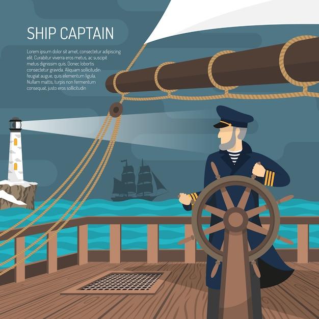 Sailboat captain nautical  flat poster Free Vector