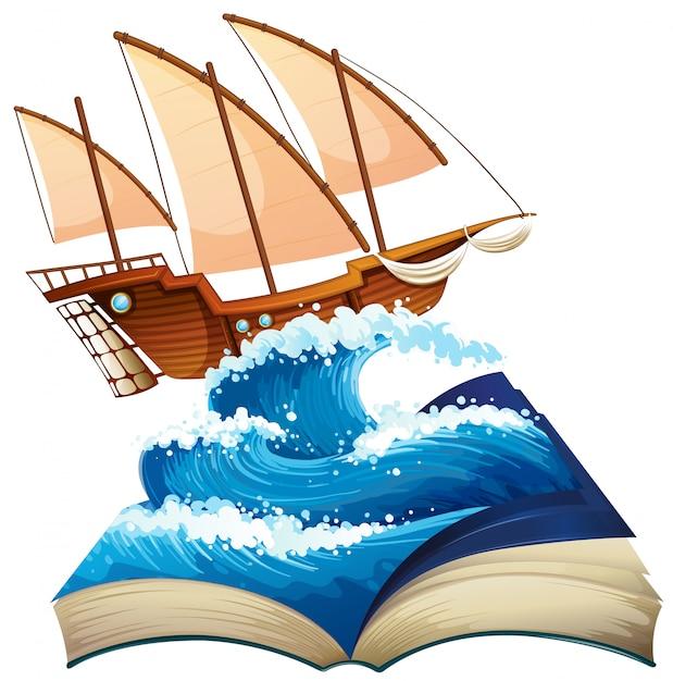 Sailboat in the ocean Free Vector