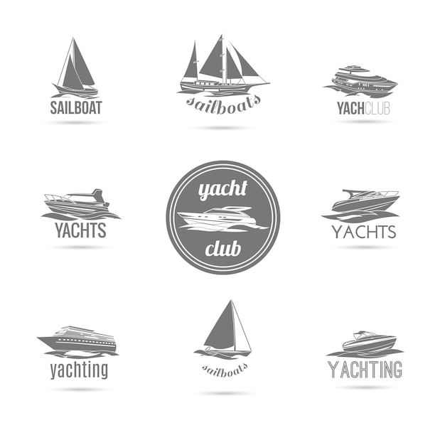 Sailboat and yachts silhouettes set Premium Vector