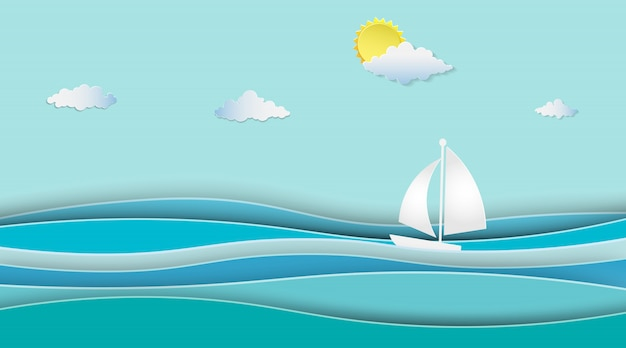 Sailboats on the ocean landscape with sunny. Premium Vector