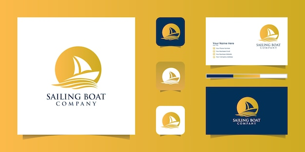 Sailiing boat icon logo and business card Premium Vector