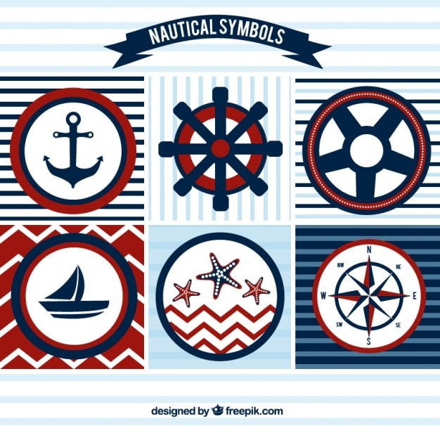 Sailing badges in red and blue colors Free Vector