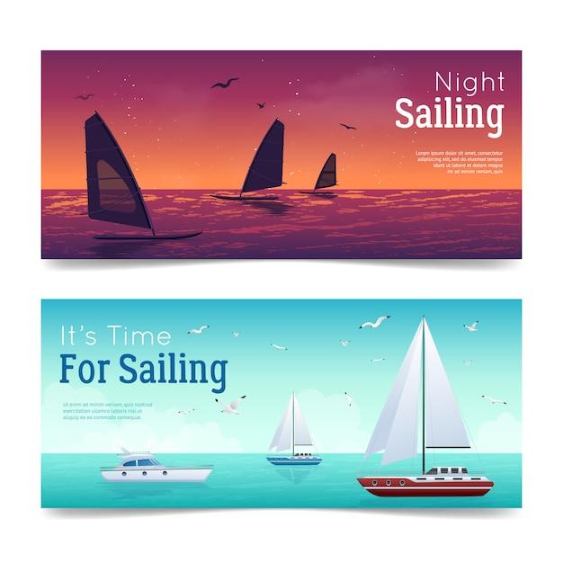 Sailing banners set Free Vector