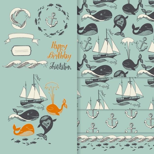 Sailing Birthday Invitation Vector Free Download - Birthday invitation vector free