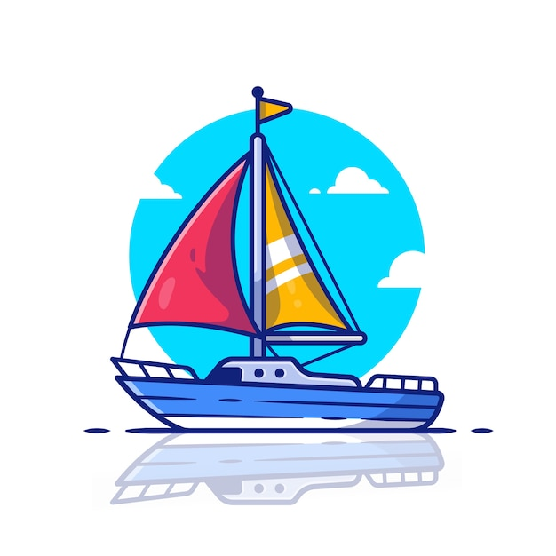 Sailing boat   icon illustration. water transportation icon concept   . Premium Vector
