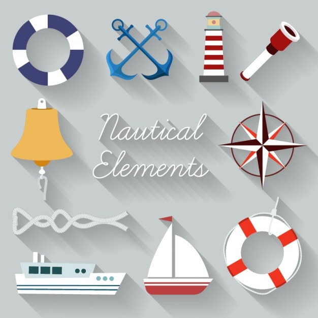 Sailing element collection Free Vector