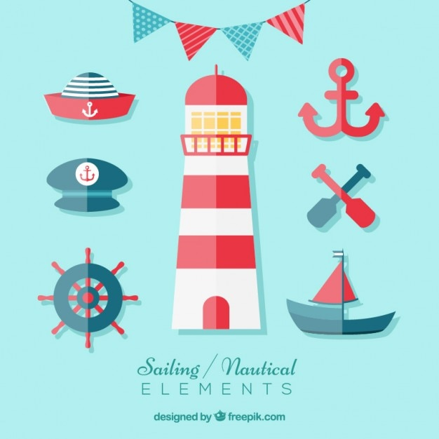 Sailing elements in flat design Free Vector