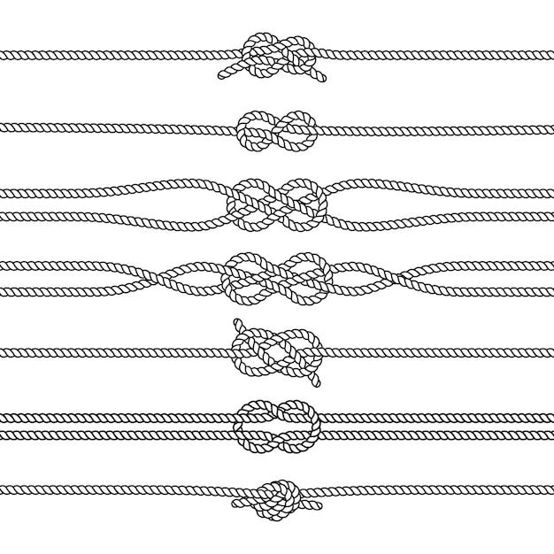 Sailing knots horizontal borders or dividers. marine decorations. nautical knots Premium Vector