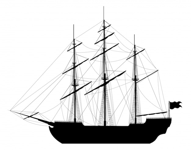 Sailing ship isolated Premium Vector