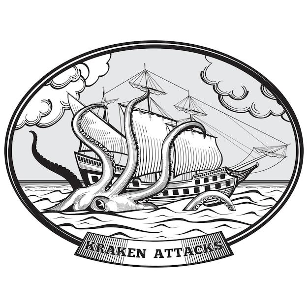 Nave a vela e kraken mostro polpo emblema disegnato a mano stile. tentacolo oceano, gigante della natura, illustrazione vettoriale Vettore gratuito