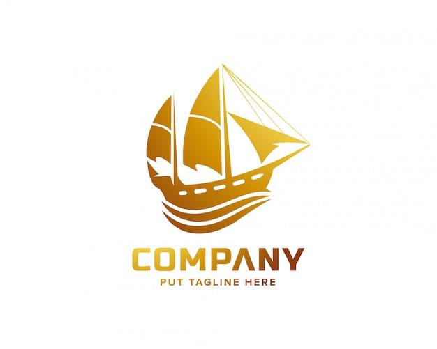 Sailing ship logo template for business Premium Vector
