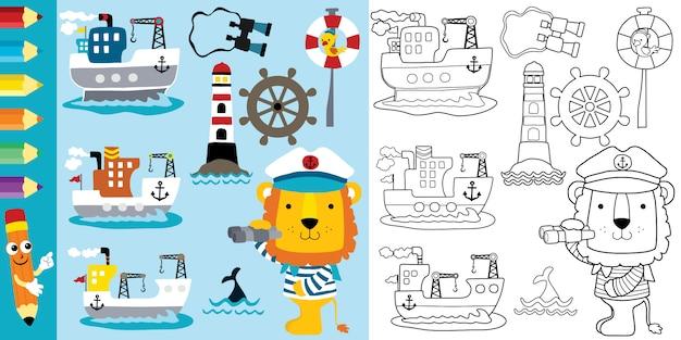 セーリングテーマ漫画、面白いライオンと貨物船 Premiumベクター