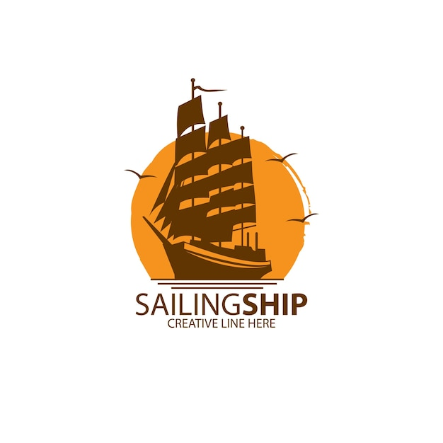Логотип парусного судна Premium векторы