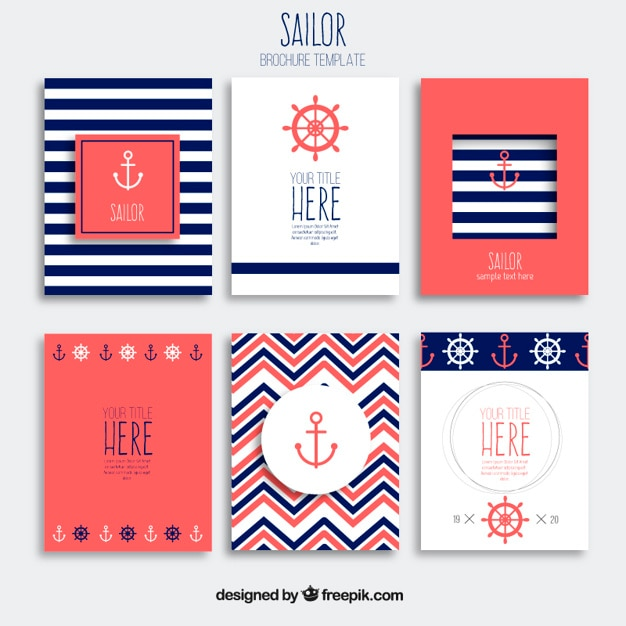 Sailor brochures Free Vector