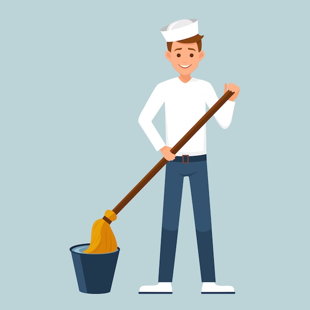 The sailor dipping the mop in a bucket of water Premium Vector