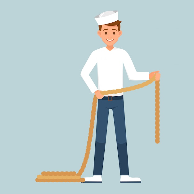 Sailor holding a rope in hands. Premium Vector