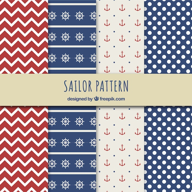 Sailor patterns Free Vector