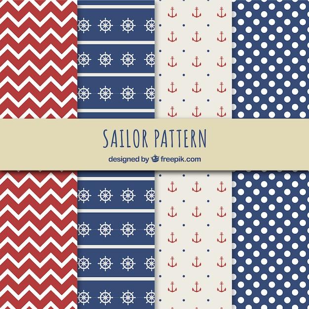 Sailor patterns Free Vector