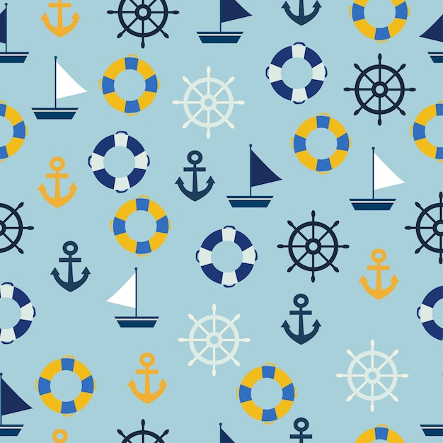 Sailor seamless pattern.sea decoration seamless pattern Premium Vector
