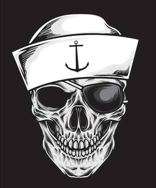 Sailor skull vector Premium Vector