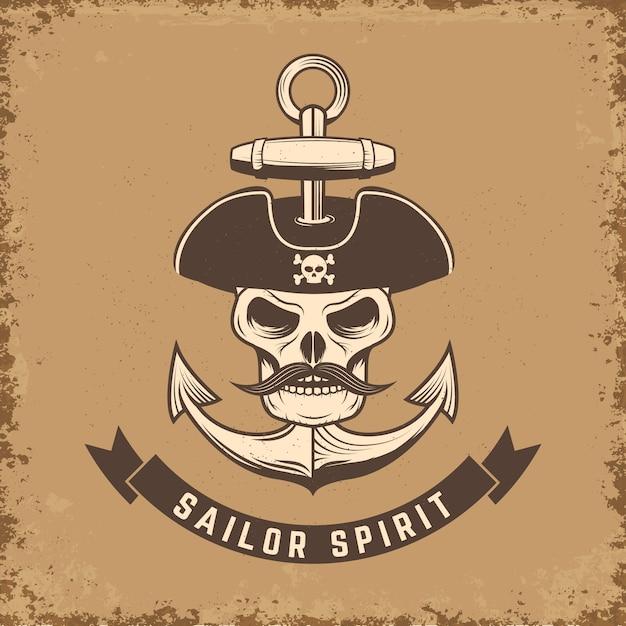 Sailor spirit. skull with anchor on grunge background.  illustration. Premium Vector