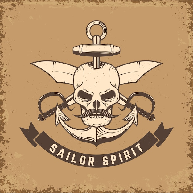 Sailor spirit. skull with anchor and knives on grunge background.  illustration. Premium Vector