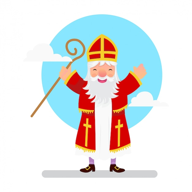 Saint nicholas standing and hold a magic stick in his hand Premium Vector