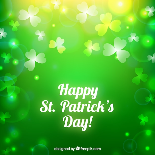 Saint Patrick Background In Bokeh Style Vector Free Download