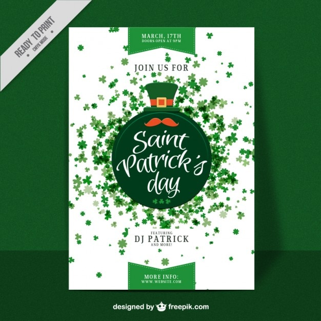 Saint Patrick day clovers poster Free Vector