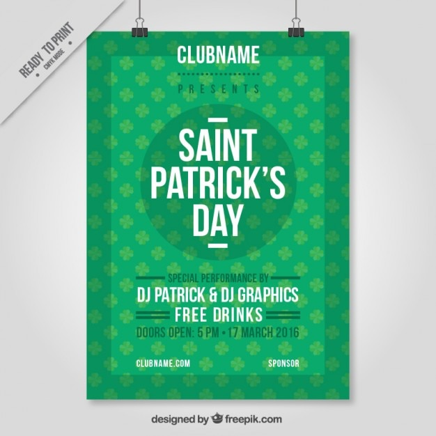 Saint Patrick Day Party Poster Free Vector