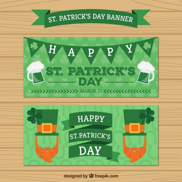 San patrick green banner Vettore gratuito
