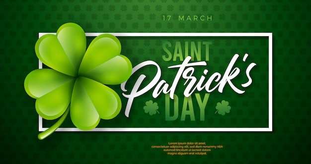 Saint patrick's day design with clover leaf on green background. irish beer festival celebration holiday illustration with typography and shamrock Free Vector