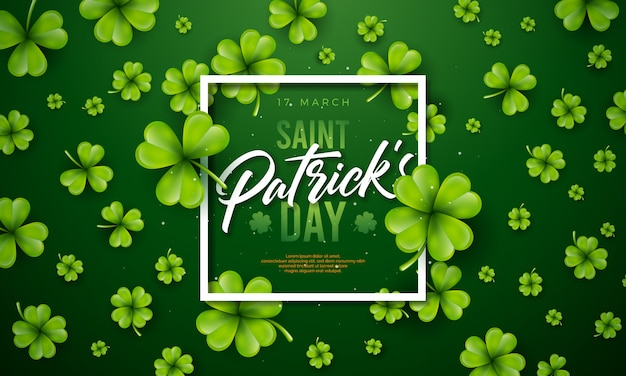 Saint patrick's day design with clover leaf on green background. Free Vector