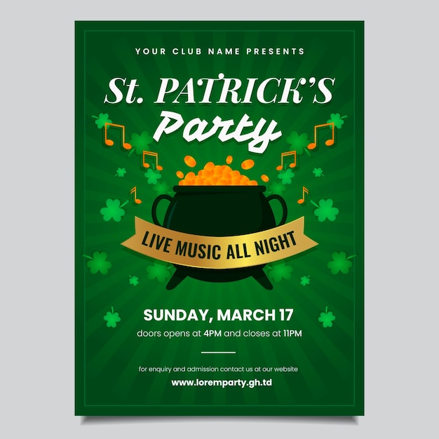 Saint patrick's day flyer template Free Vector