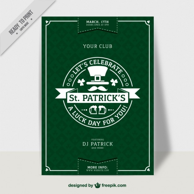 Saint patrick's day green poster in flat design Free Vector
