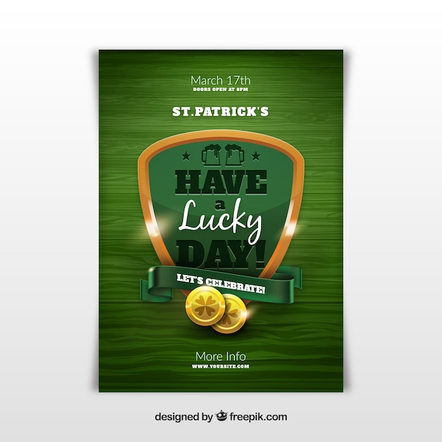 Saint patrick's day poster in realistic style Free Vector