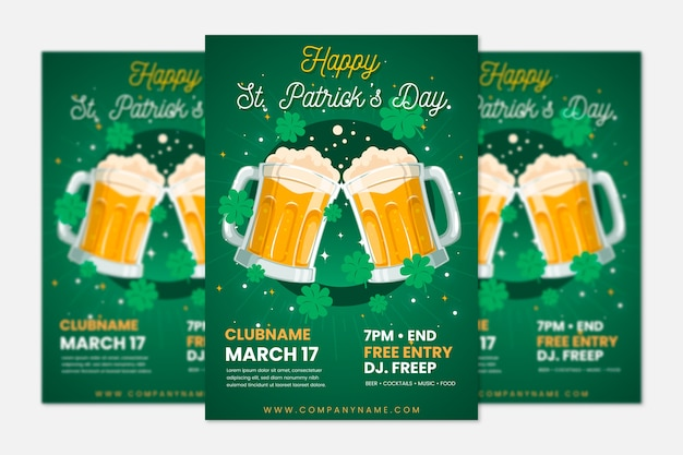 Saint patrick's day poster template with beer Free Vector