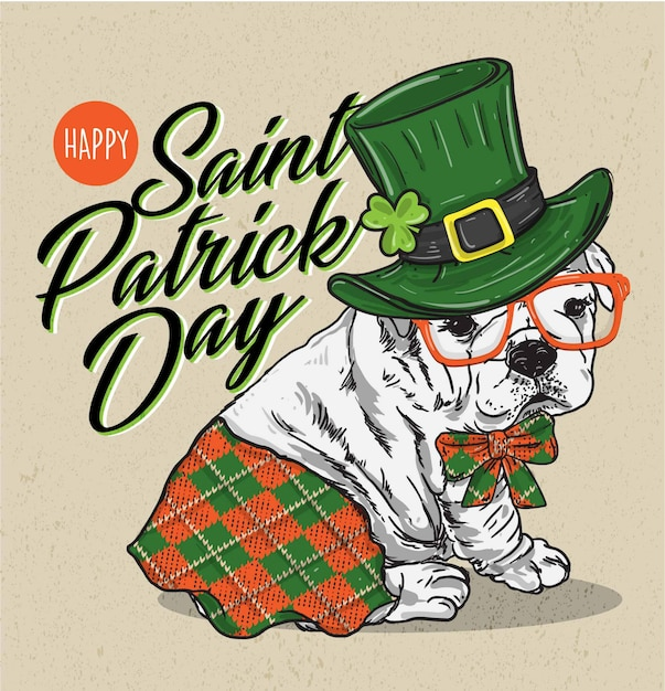 Saint patrick's day poster with adorable puppy Premium Vector