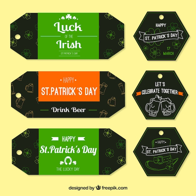Saint patrick's day sketches tags set